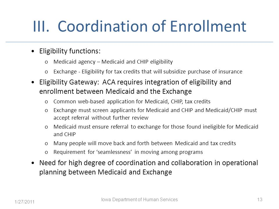 III. Coordination of Enrollment