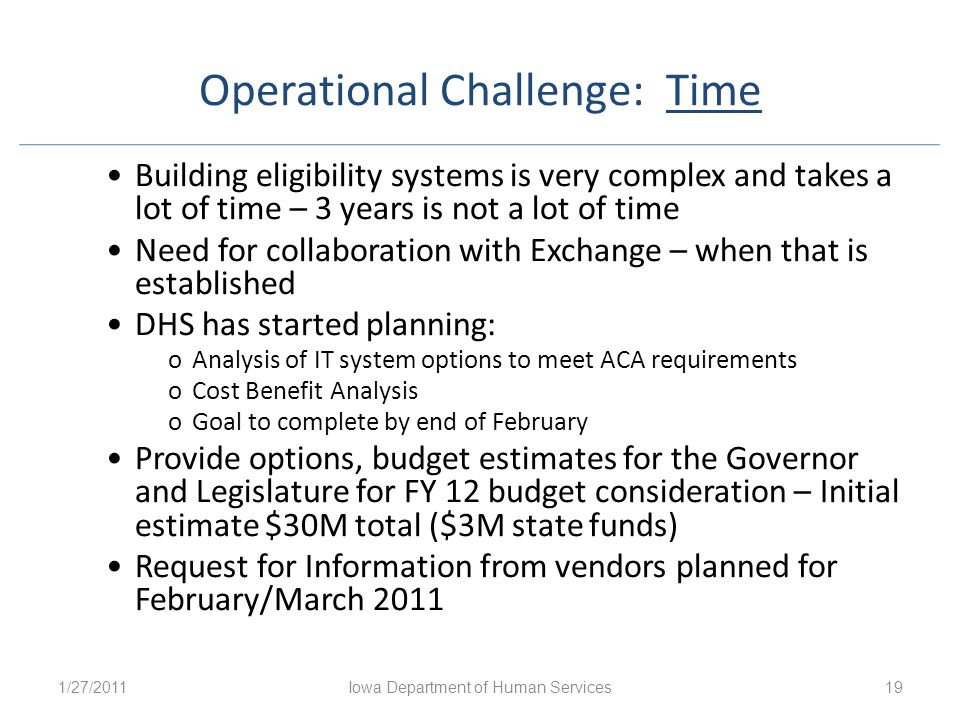 Operational Challenge: Time