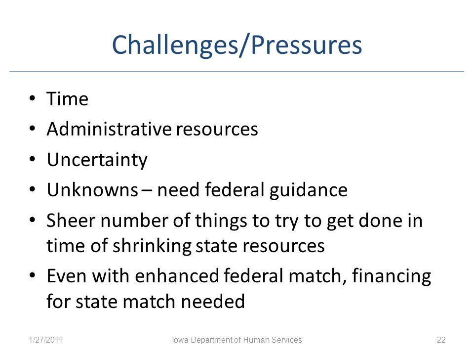 Challenges/Pressures