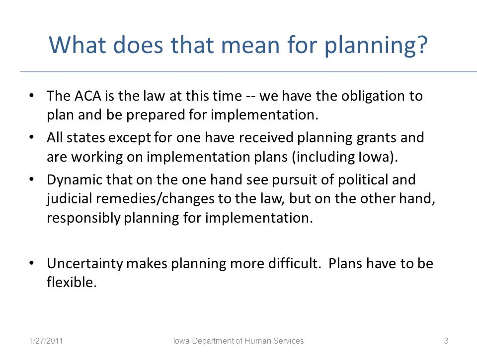What does that mean for planning