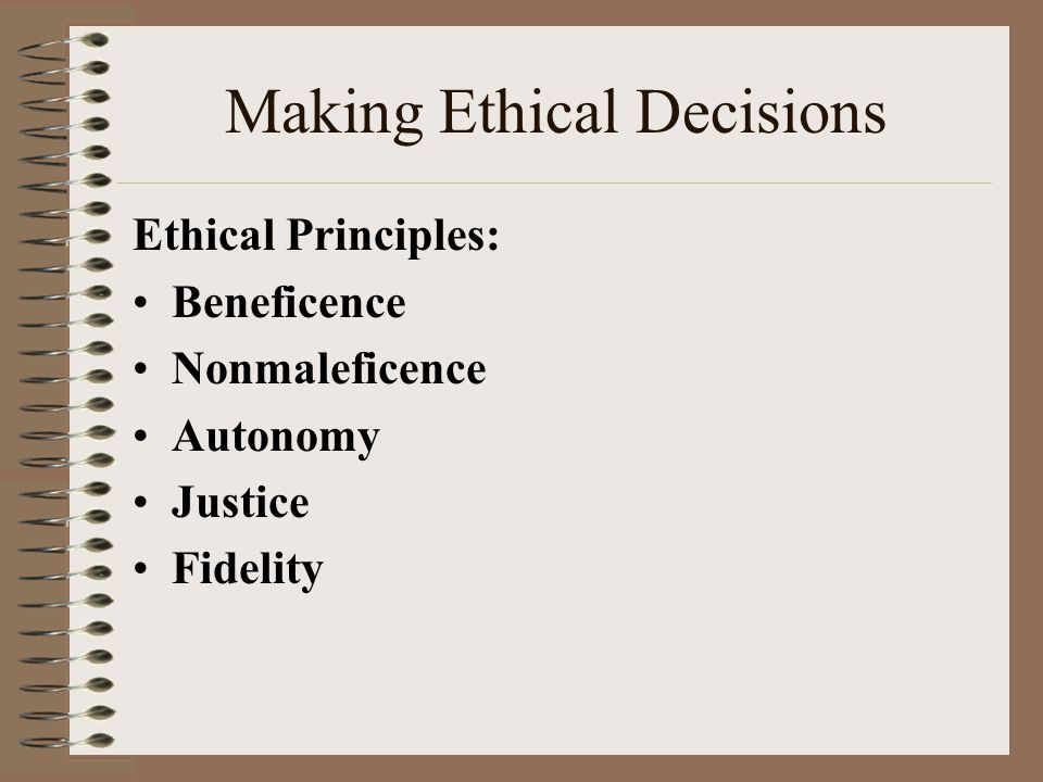 """autonomy counseling ethics 6 ethical principles in counseling (commission on rehabilitation counselor certification) beneficence autonomy non- maleficence fidelity justice veracity beneficence """"to do good to others"""" acting in a manner that promotes the welfare of the client beneficence factors and risks."""