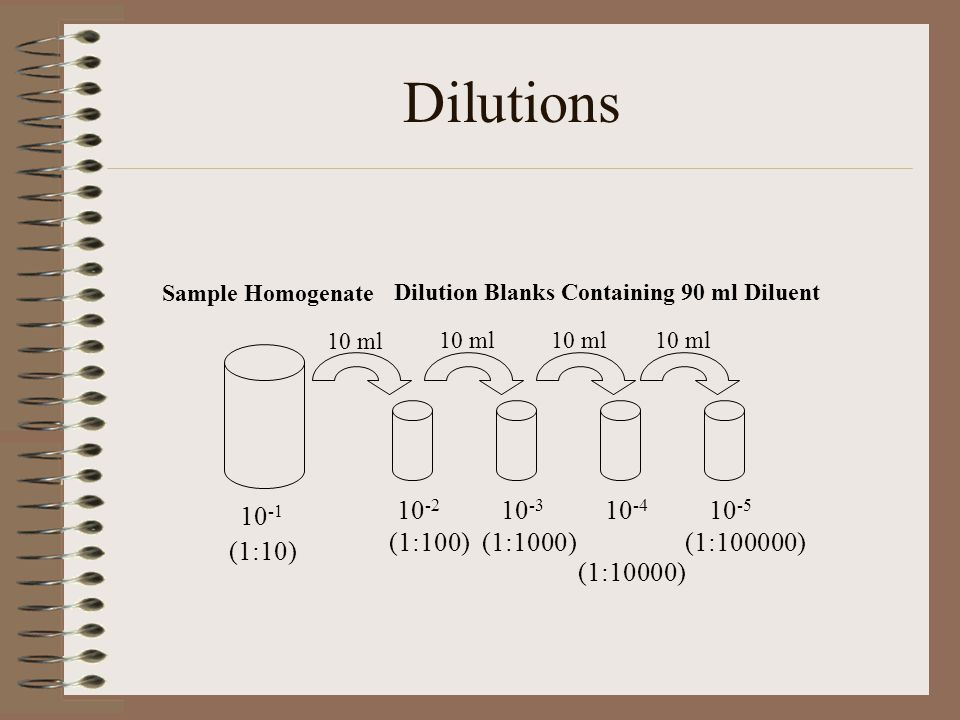Dilutions (1:100) (1:1000) (1:100000) (1:10)