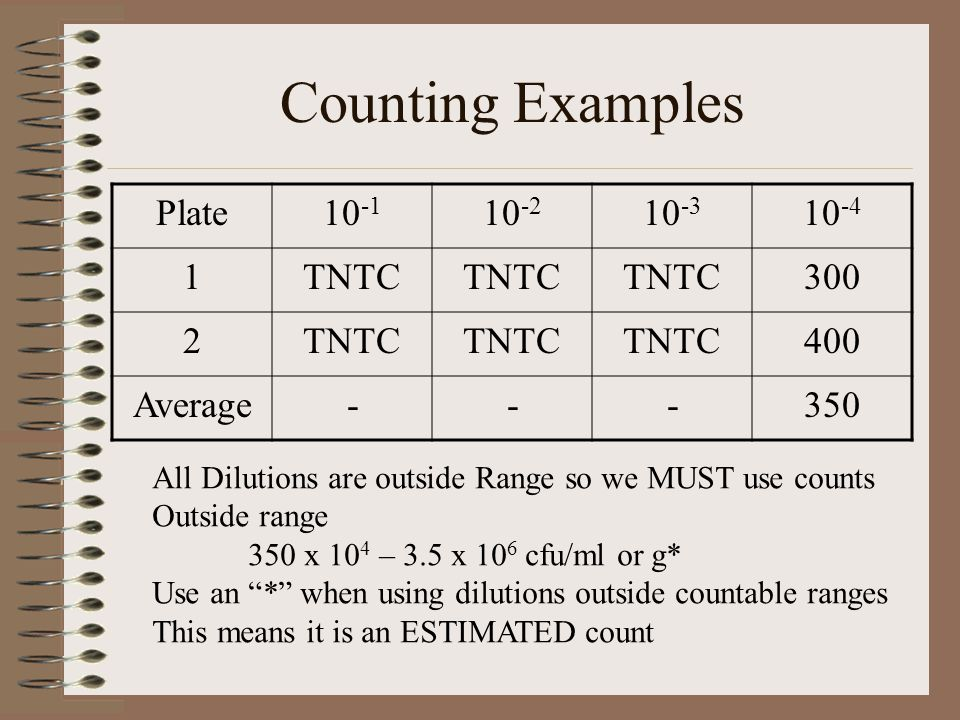 Counting Examples Plate TNTC Average -