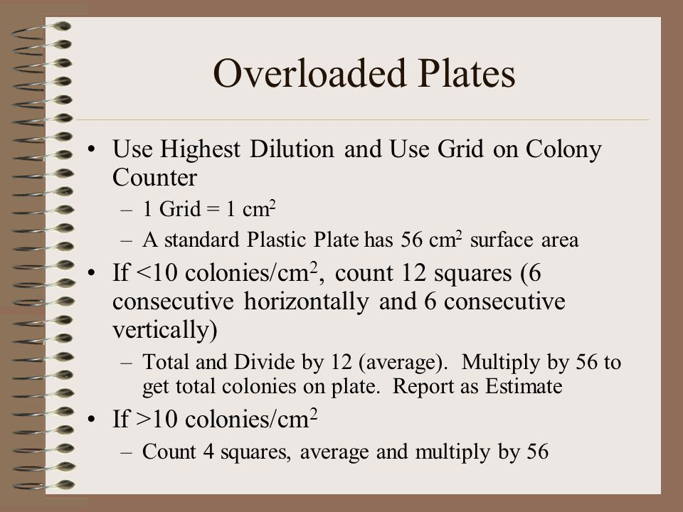 Overloaded Plates Use Highest Dilution and Use Grid on Colony Counter