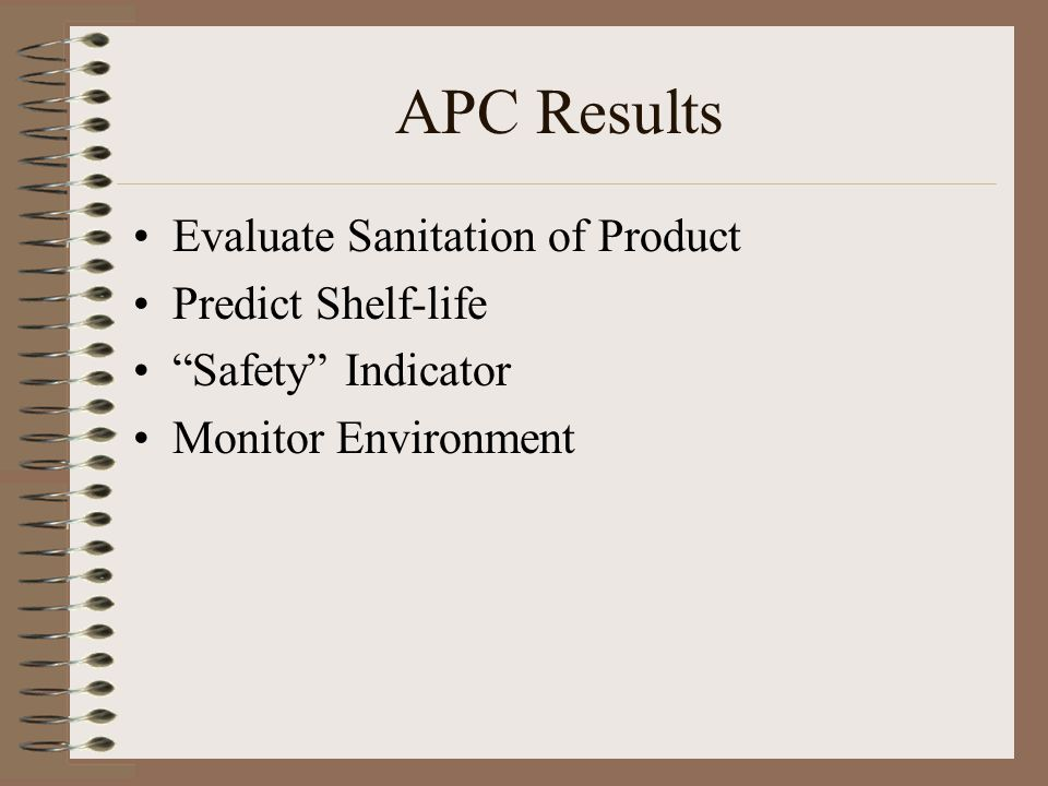 APC Results Evaluate Sanitation of Product Predict Shelf-life