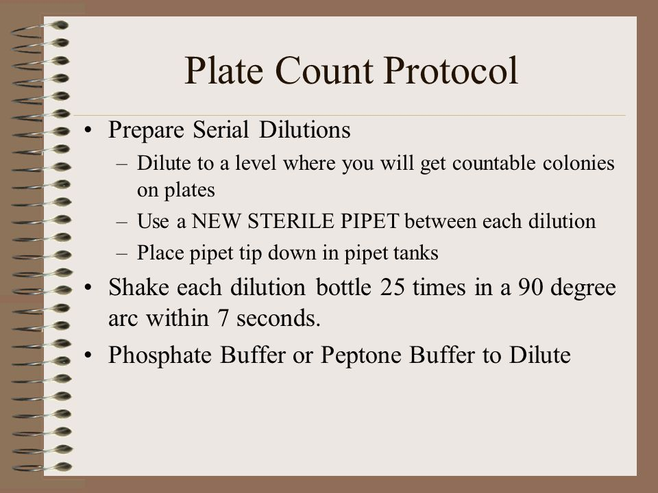 Plate Count Protocol Prepare Serial Dilutions