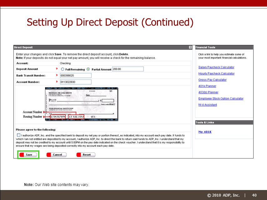 how to set up direct deposit for employers
