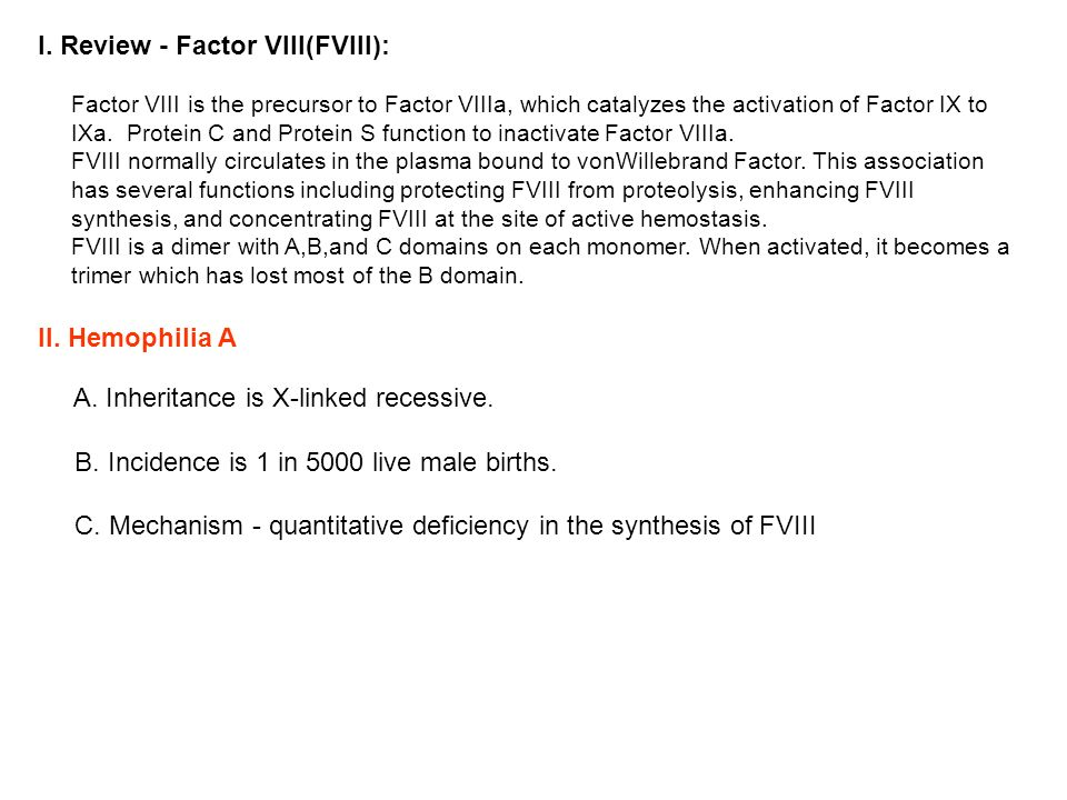I. Review - Factor VIII(FVIII):