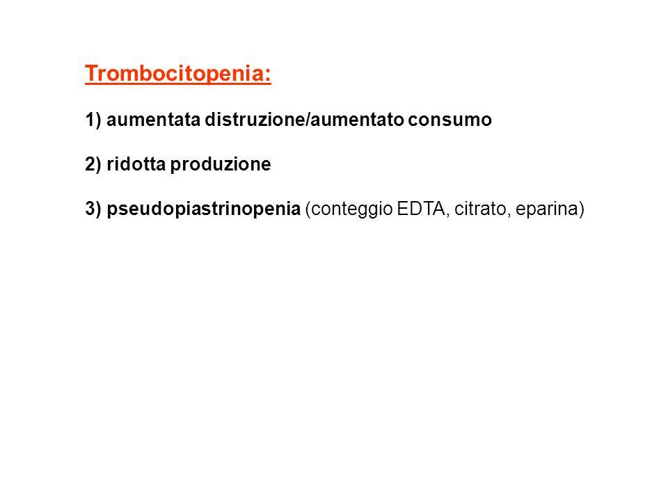 Trombocitopenia: 1) aumentata distruzione/aumentato consumo