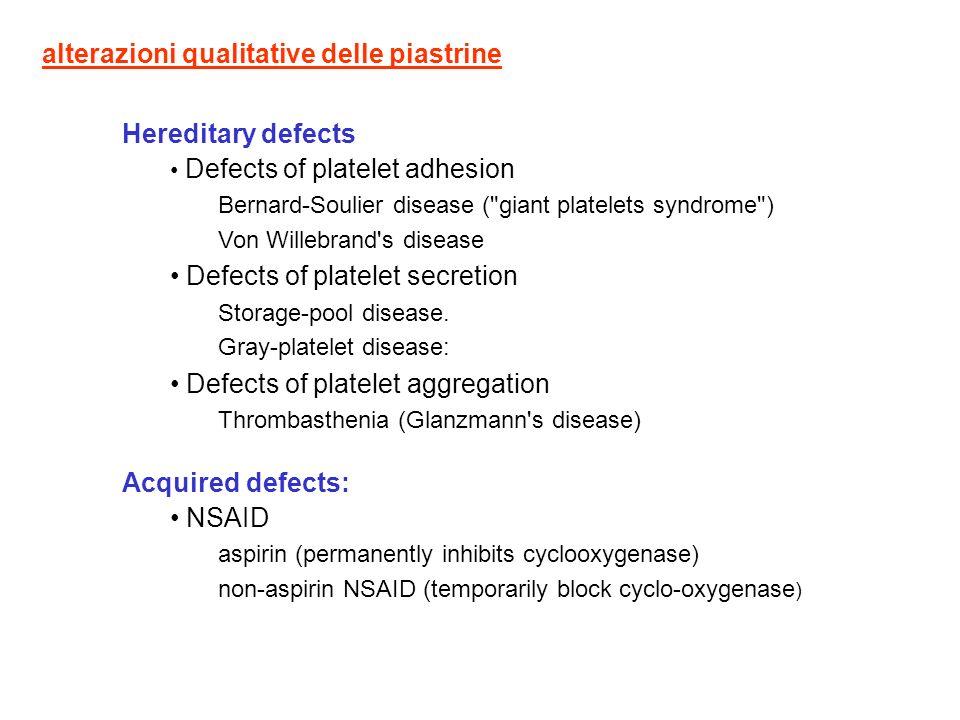 alterazioni qualitative delle piastrine