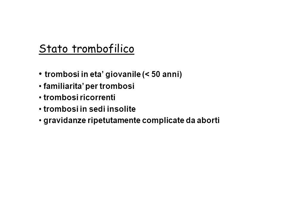 Stato trombofilico trombosi in eta' giovanile (< 50 anni)