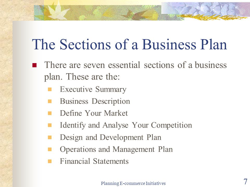 Typical business plan sections of london