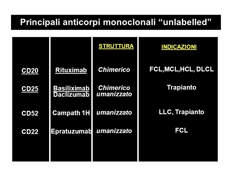 Principali anticorpi monoclonali unlabelled