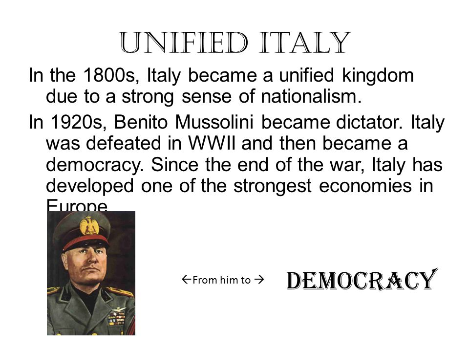 Unified Italy DEMOCRACY