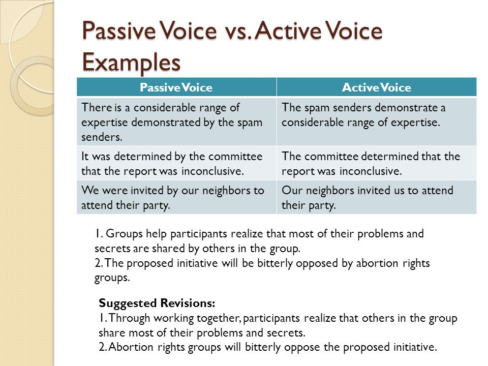 how to change passive voice to active voice examples