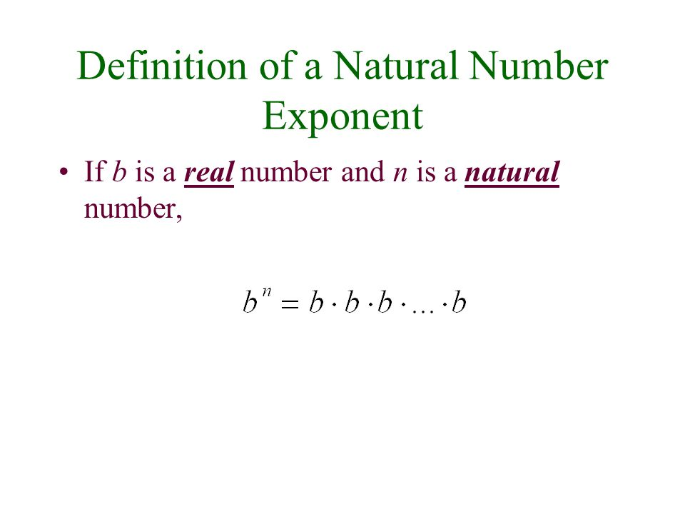 Definition of a Natural Number Exponent