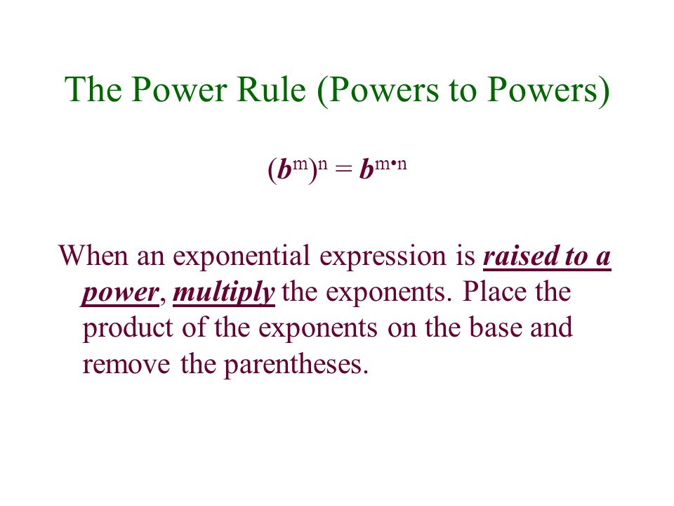 The Power Rule (Powers to Powers)