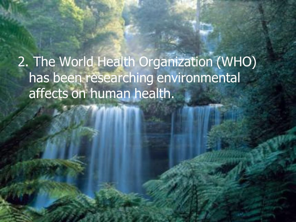 2. The World Health Organization (WHO) has been researching environmental affects on human health.