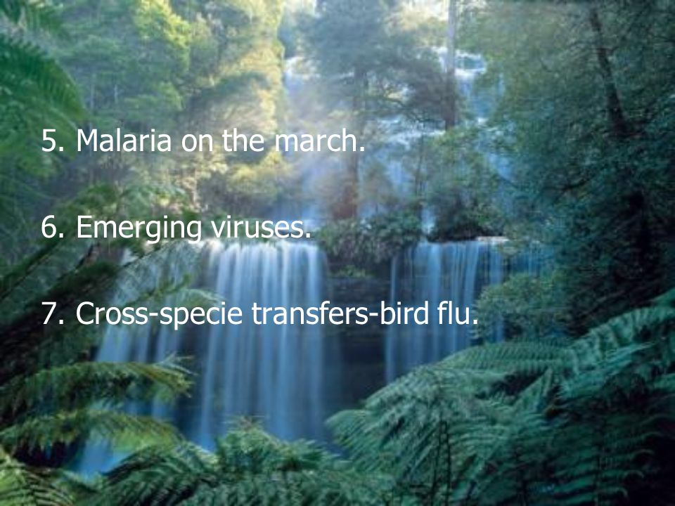 5. Malaria on the march. 6. Emerging viruses. 7. Cross-specie transfers-bird flu.