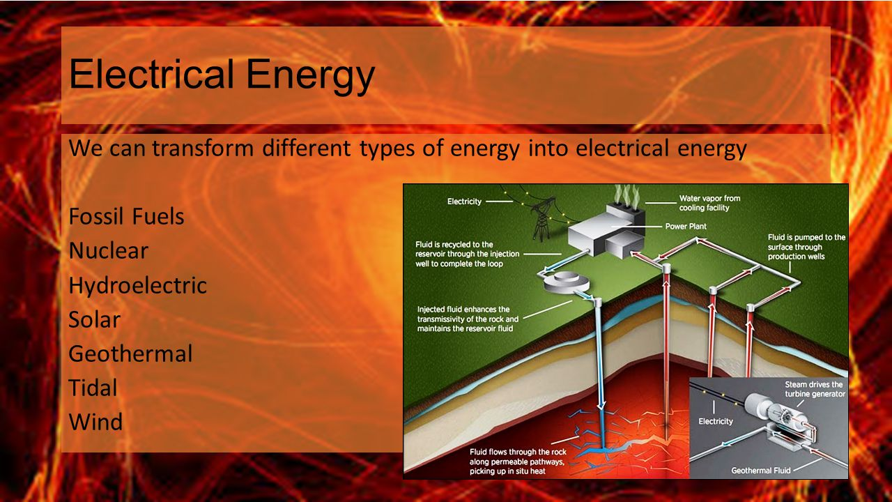 Electrical Energy We can transform different types of energy into electrical energy Fossil Fuels Nuclear Hydroelectric Solar Geothermal Tidal Wind