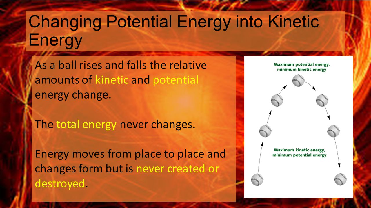 Changing Potential Energy into Kinetic Energy