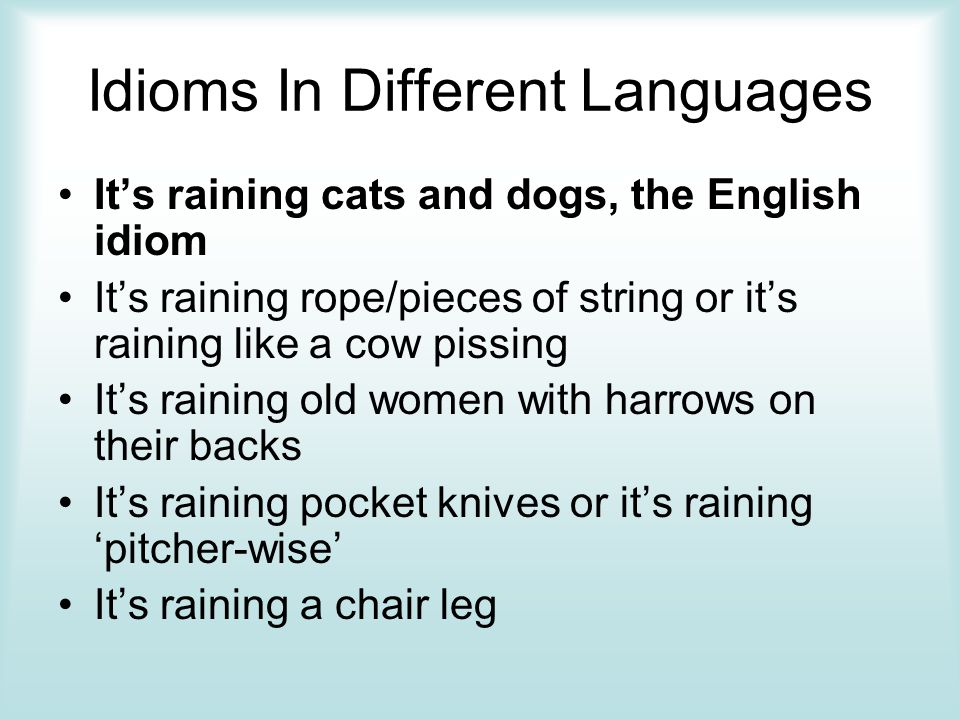 idioms by michaela goff hannah hedegard anna kenolty stacey  idioms in different languages