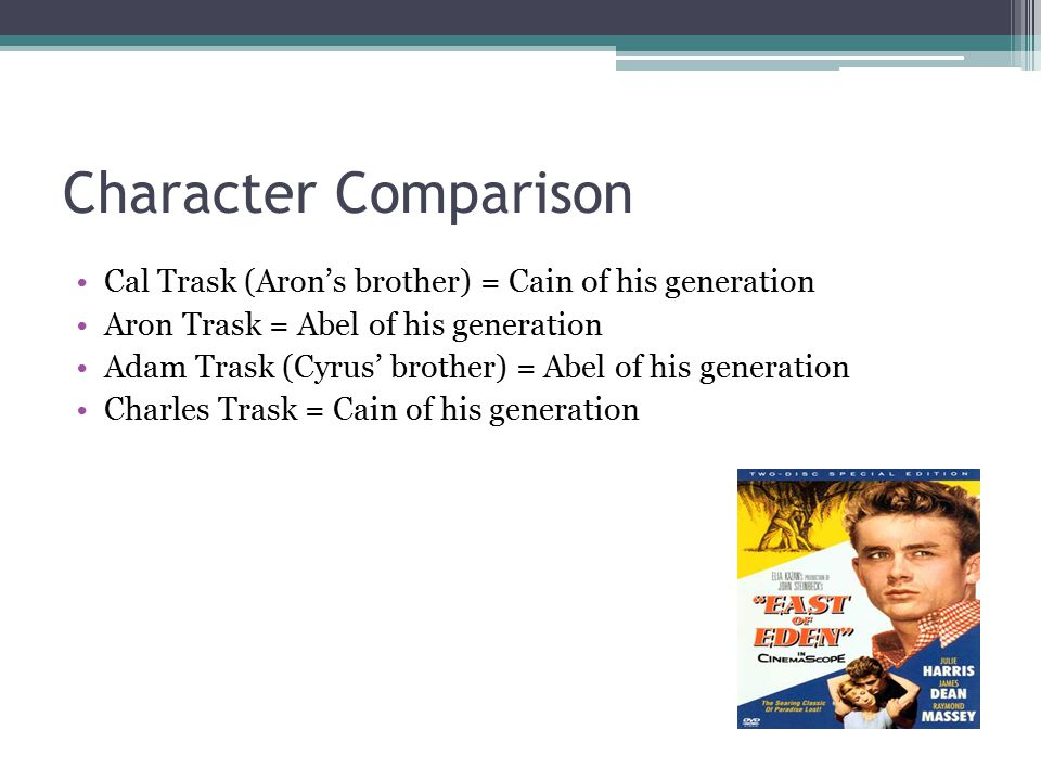 Character Comparison Cal Trask (Aron's brother) = Cain of his generation. Aron Trask