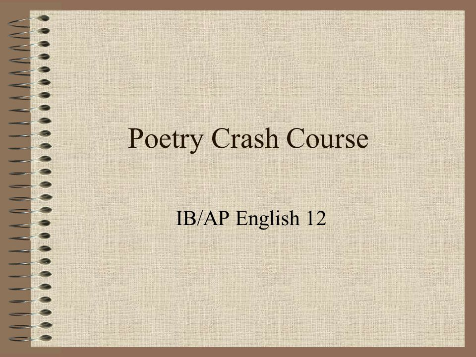 Poetry Crash Course IB/AP English 12