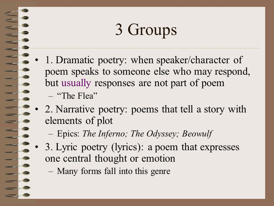 3 Groups 1. Dramatic poetry: when speaker/character of poem speaks to someone else who may respond, but usually responses are not part of poem.