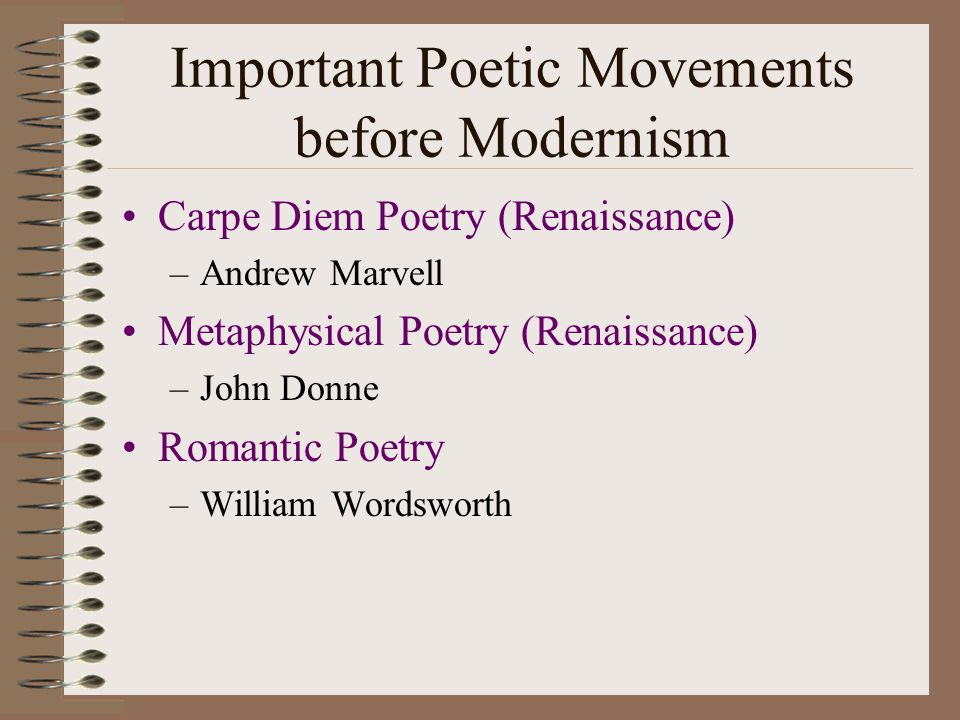 Important Poetic Movements before Modernism