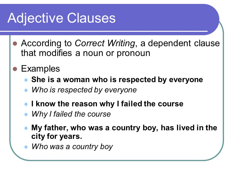 adjective clause meaning and examples