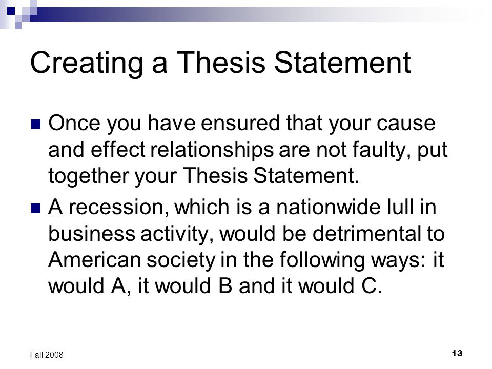 Starting thesis statements
