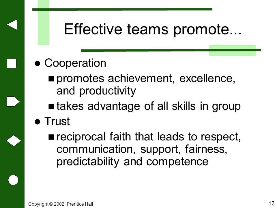 Effective teams promote...