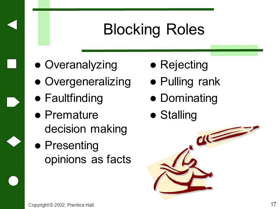 Blocking Roles Overanalyzing Overgeneralizing Faultfinding