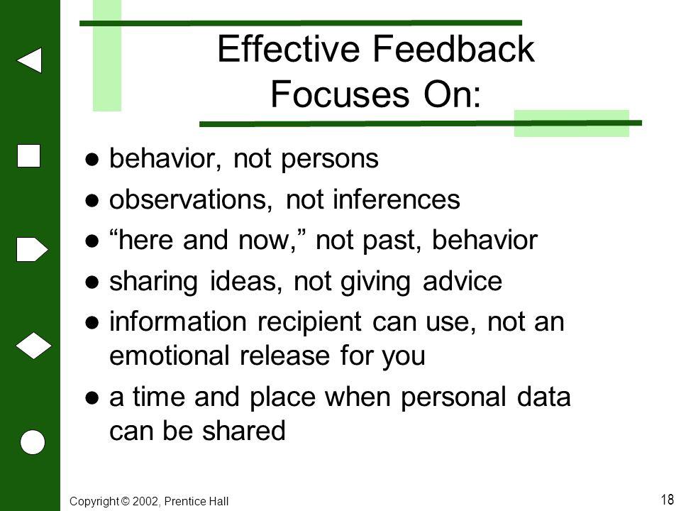 Effective Feedback Focuses On: