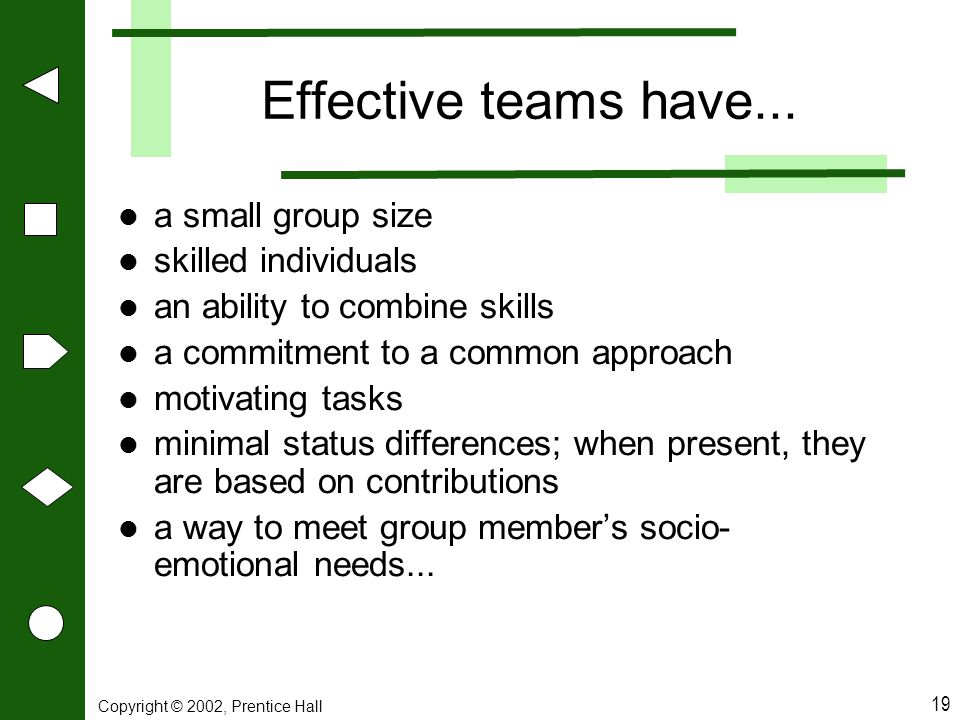 Effective teams have... a small group size skilled individuals