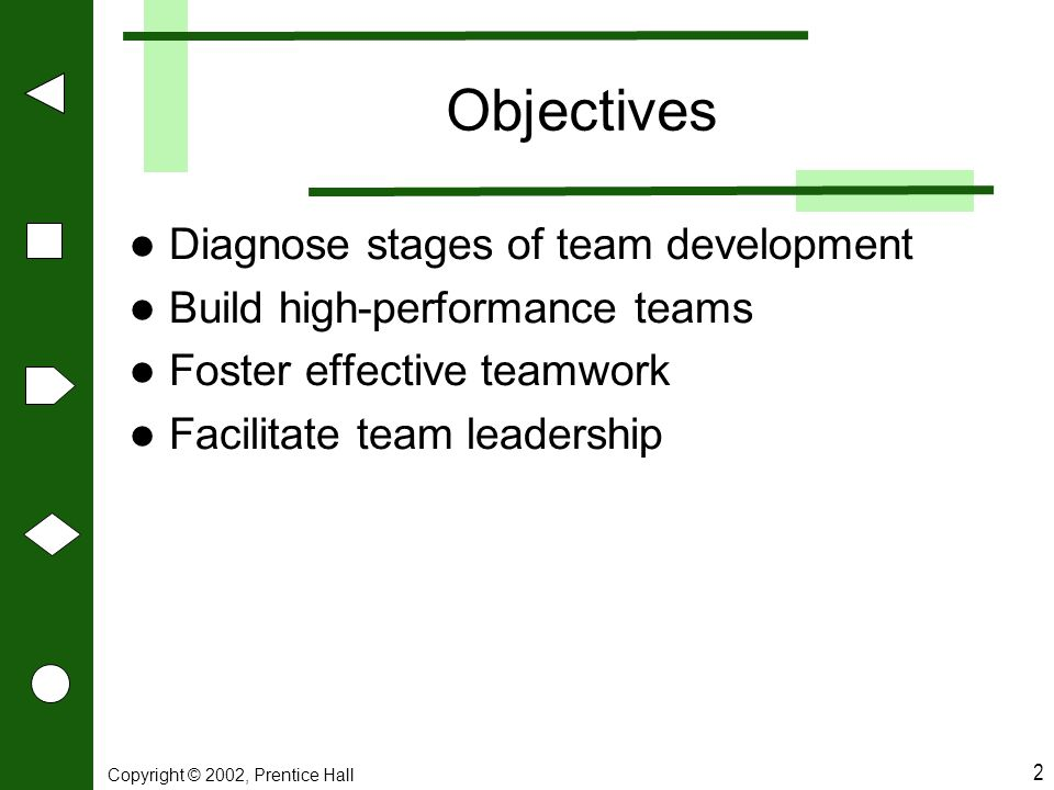 Objectives Diagnose stages of team development