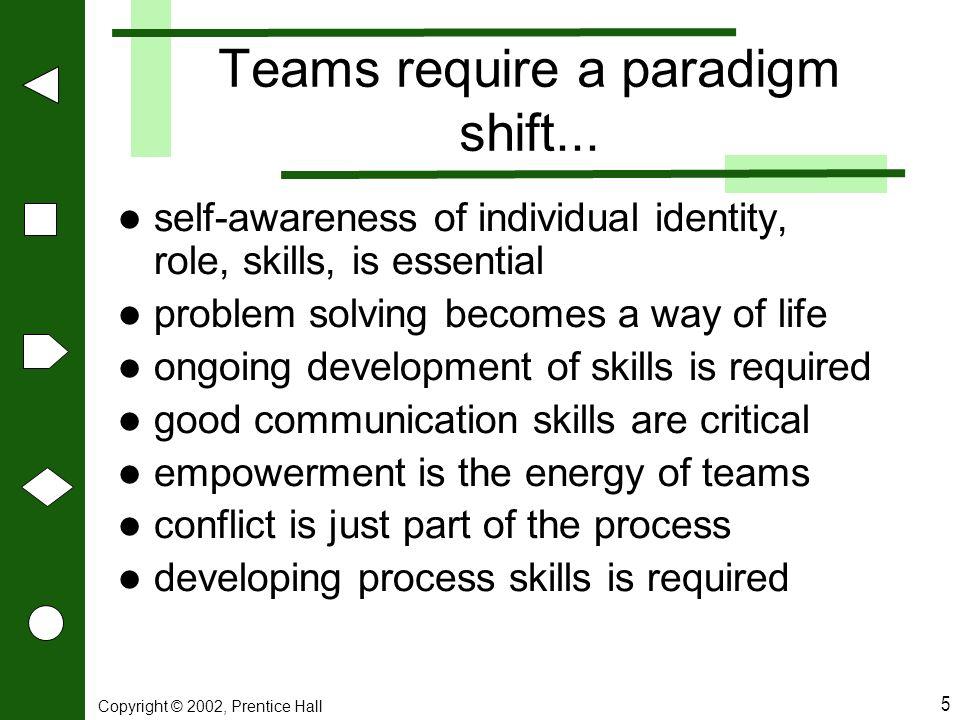 Teams require a paradigm shift...