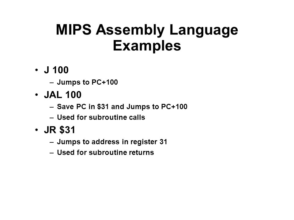 MIPS Assembly Language Examples