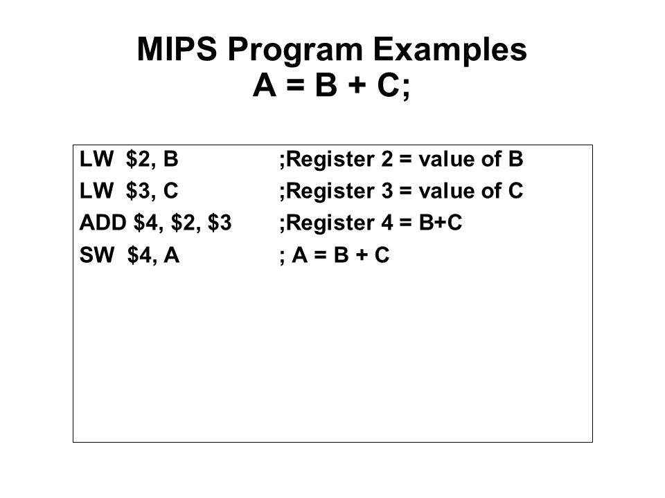 MIPS Program Examples A = B + C;