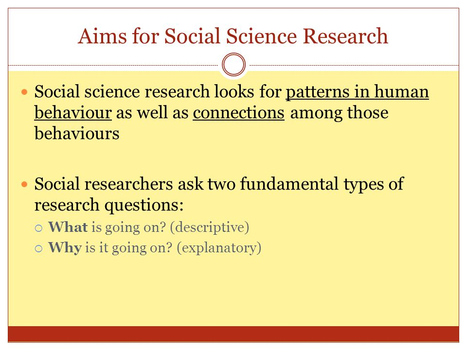 Aims for Social Science Research