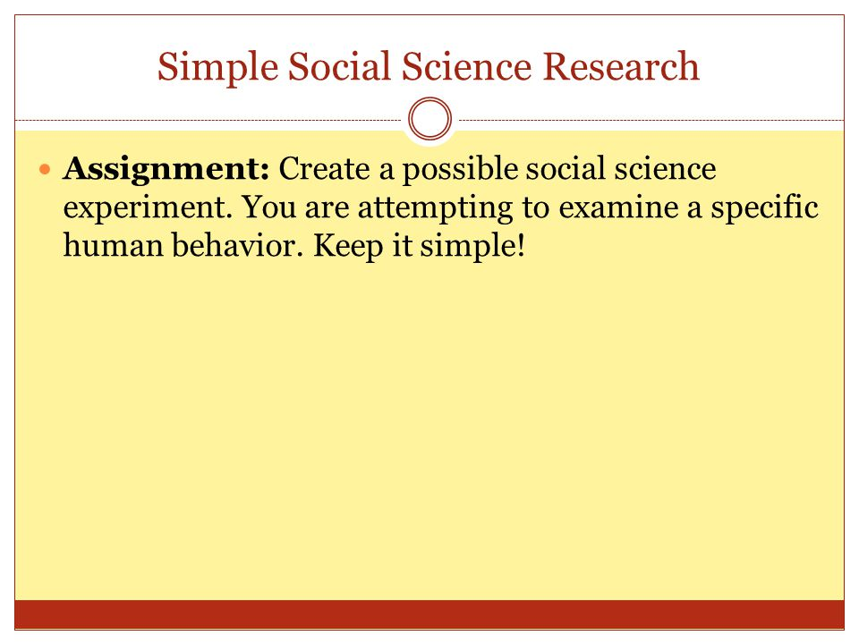 Simple Social Science Research