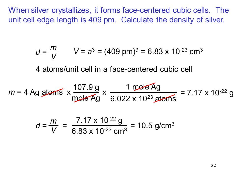 When silver crystallizes, it forms face-centered cubic cells