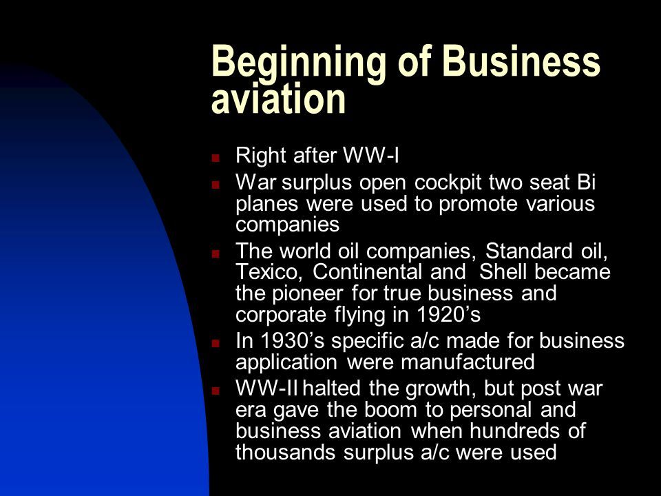 Beginning of Business aviation