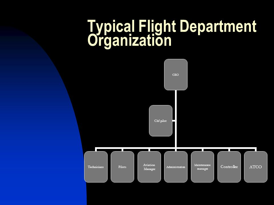 Typical Flight Department Organization