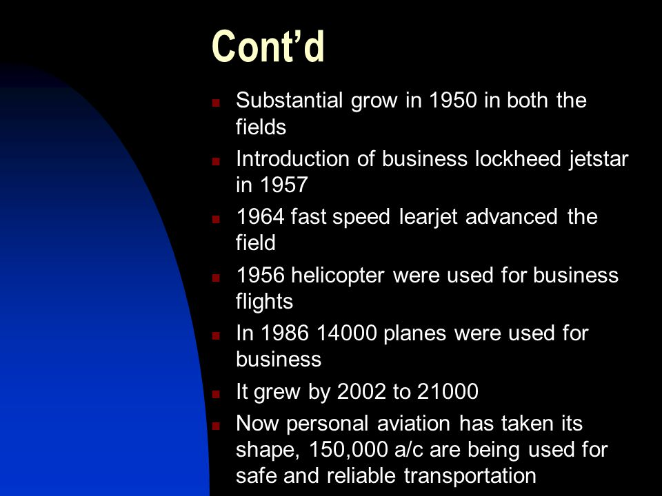 Cont'd Substantial grow in 1950 in both the fields