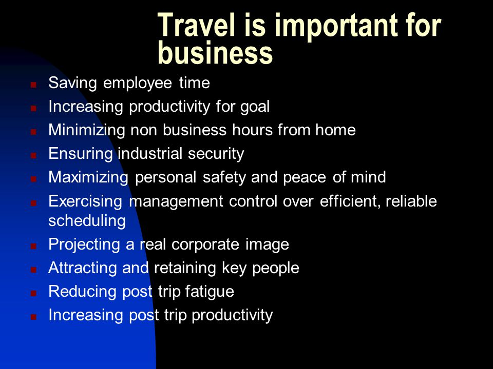 Travel is important for business
