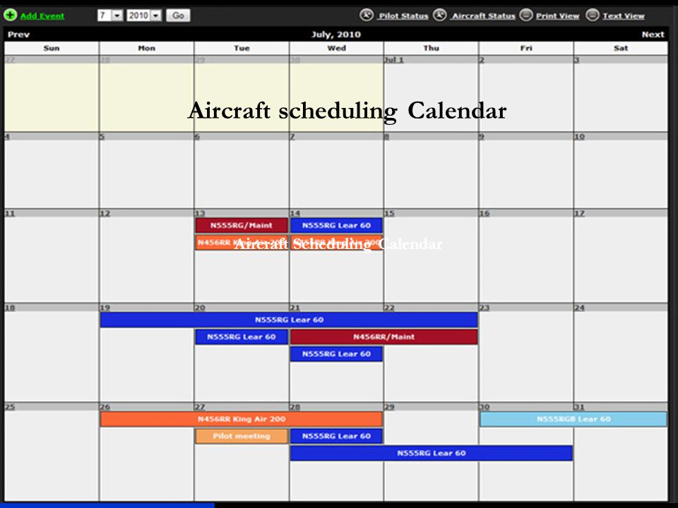 Aircraft scheduling Calendar