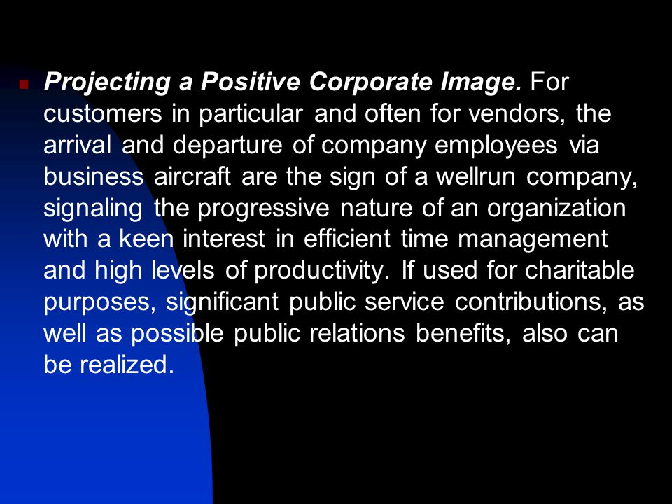 Projecting a Positive Corporate Image