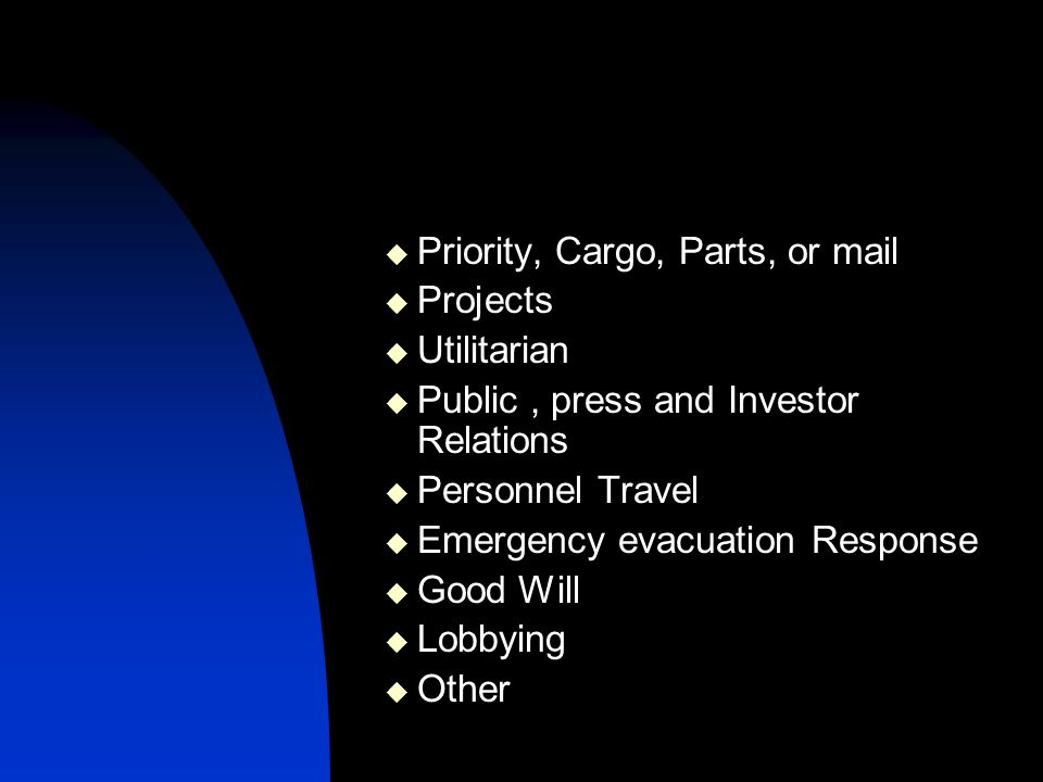 Priority, Cargo, Parts, or mail